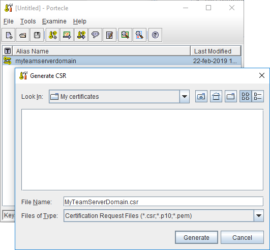 How do I create a keystore with an SSL certificate for the