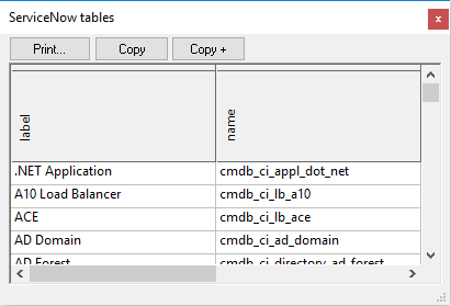 Viewing all ServiceNow tables available on the server
